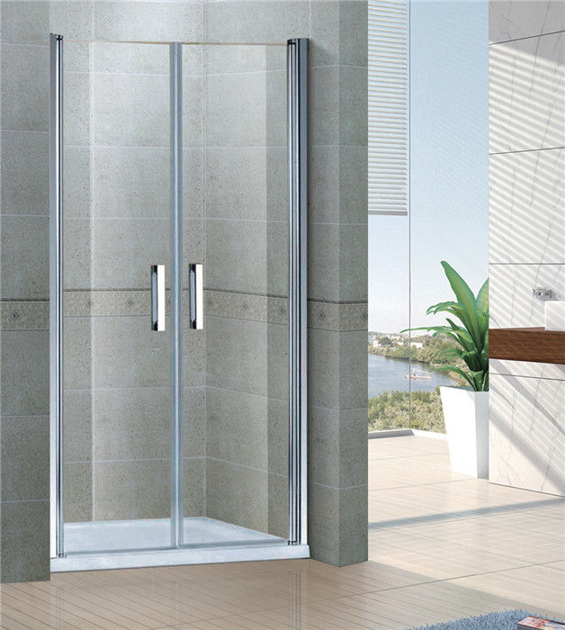 Sand Silver Inline Pivot Shower Doors 6 MM Tempered Glass With Aluminum Frame