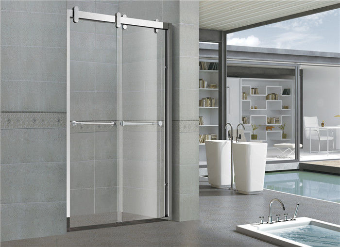 8mm/10mm Frosted Double Move Sliding Glass Shower Doors With CUPC certification Big Hanging Wheels