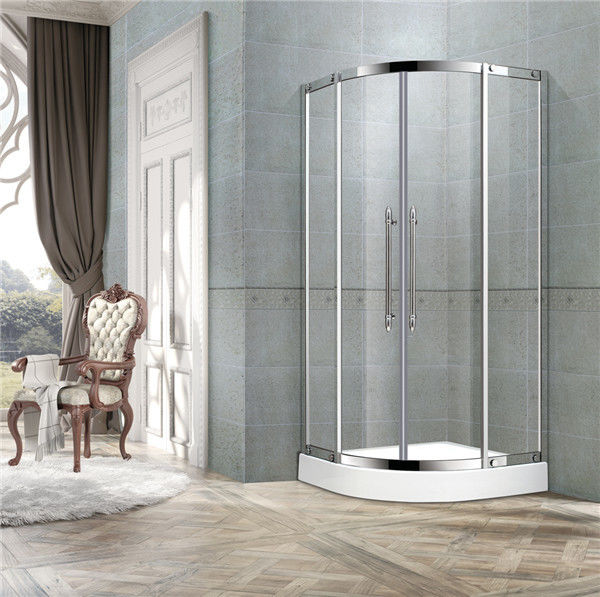 With Frame Stainless Steel Curve Shower Doors 8mm Clear Glass Two Middle Profiles