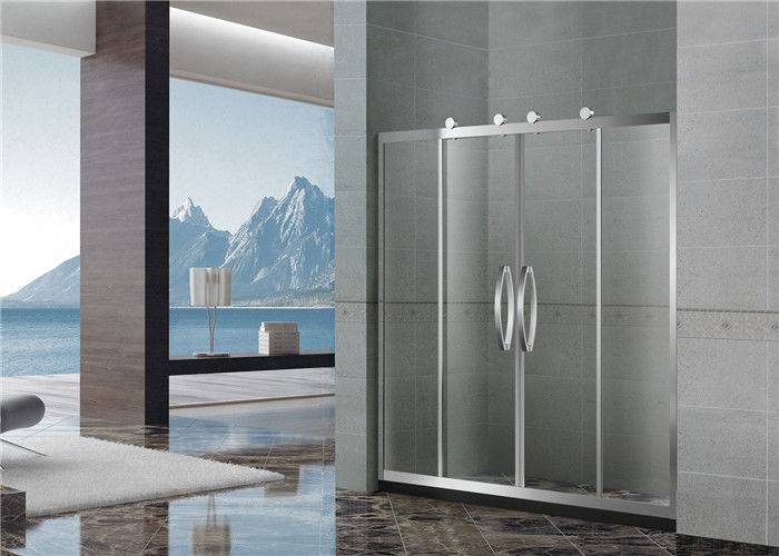 Two Moving Door Stainless Shower Enclosures 8 / 10 MM Nano Clear Tempered Glass with Big Hanging Rollers