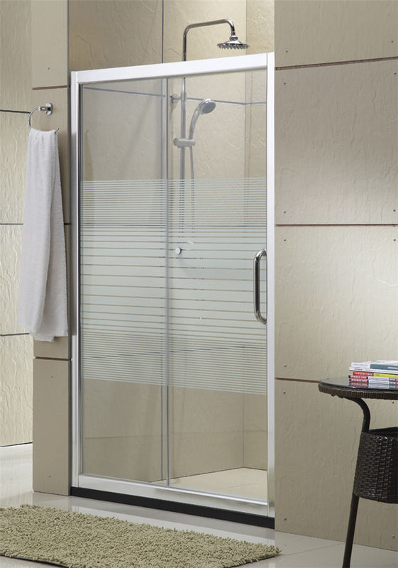 Matte Sliver Sliding Glass Shower Doors 8MM Nano Self - Cleaning With Stainless Steel Accessories