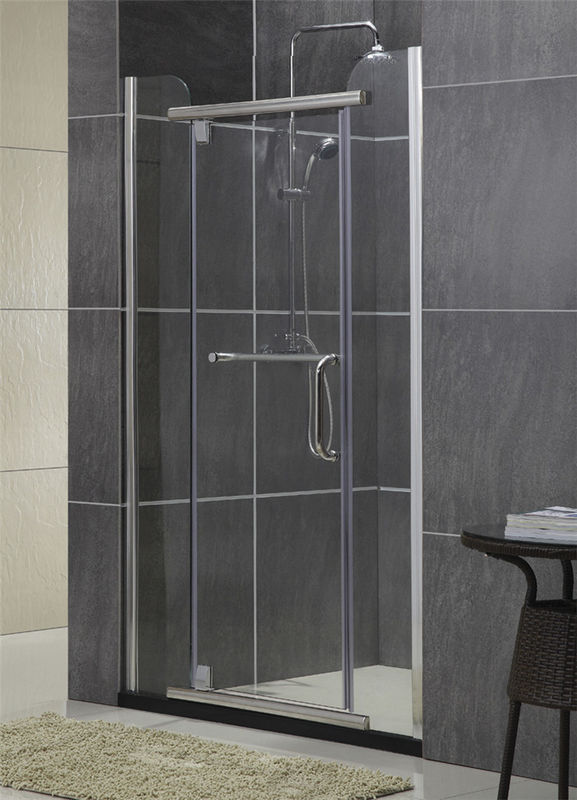 Silver Sliding Glass Swing Shower Doors Self - Cleaning With Two Fixed 8 / 10 MM Glass